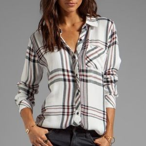 Rails Plaid button down white, hunter & navy shirt